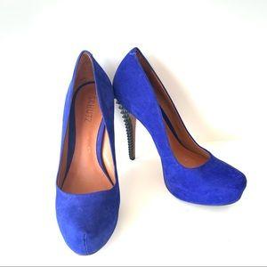 SCHUTZ Suede Studded Spikes Platform Heels—SZ. 8